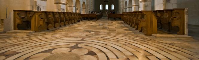 Choir stalls and a labyrinth